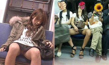 電車で大開脚してパンツ丸見えしてる女達´ω`)ノ