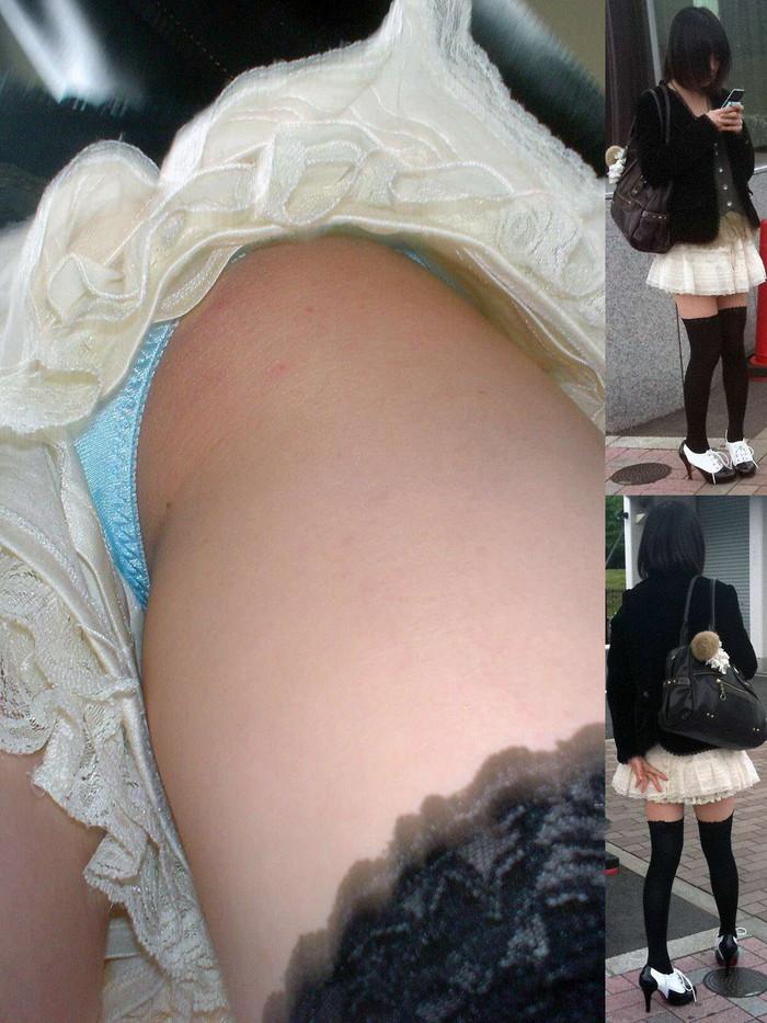 【パンチラ逆さ撮りエロ画像】パンチラ不可避の角度から狙われた素人娘たち! 20