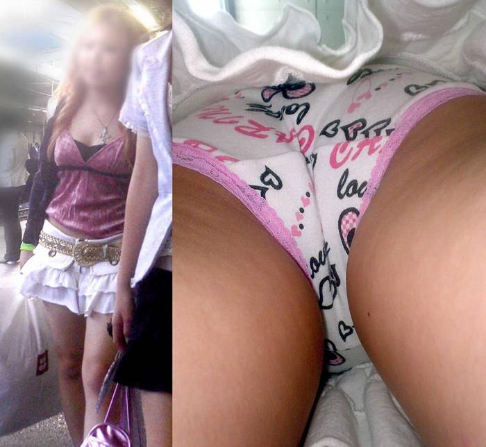【パンチラ逆さ撮りエロ画像】パンチラ不可避の角度から狙われた素人娘たち! 22